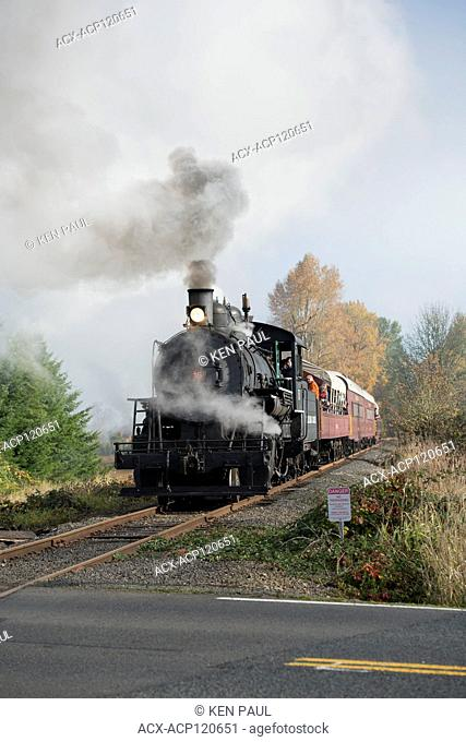 The Chehalis-Centralia Railroad fall excursion steam train. Chehalis, Washington, USA