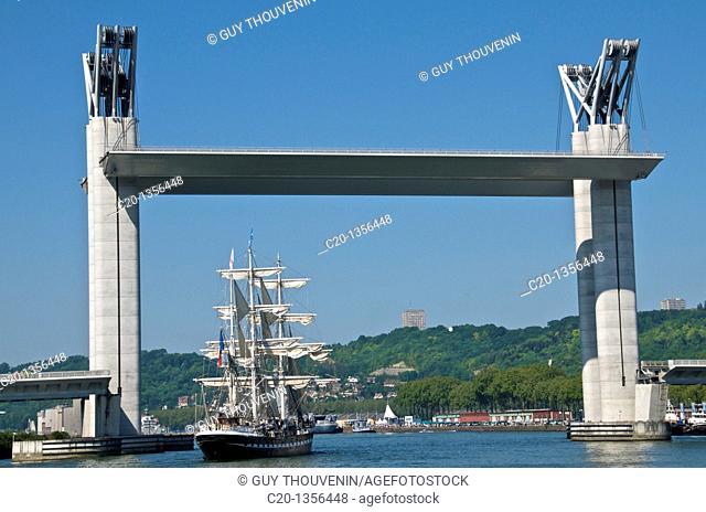 the Belem Sail boat at Rouen on the Seine river under th Flaubert bridge Rouen Normandy 76 France