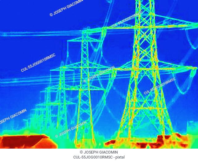 Thermal image of electrical towers
