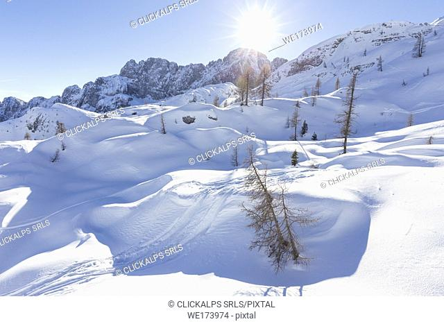 The north face of the Presolana covered in snow in winter, Val di Scalve, Bergamo district, Lombardy, Italy, Southern Europe