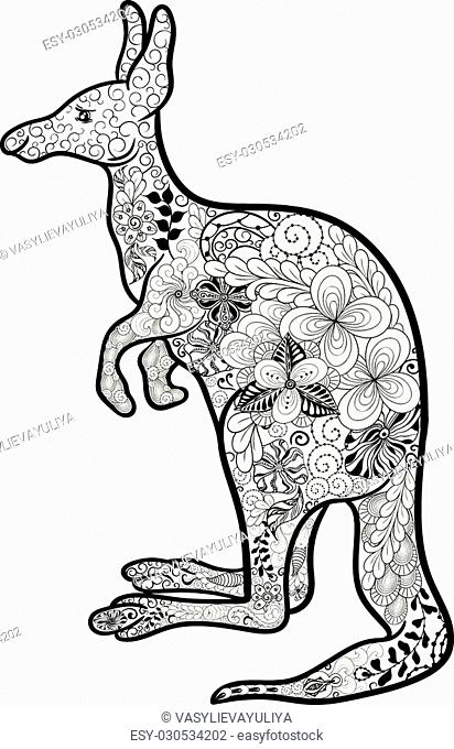 "Illustration """"Kangaroo"""" was created in doodling style in black and white colors. Painted image is isolated on white background"