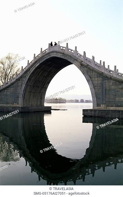 China,Beijing,Summer Palace,Arched Bridge on Kunming Lake