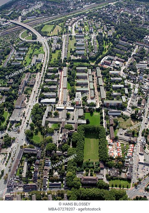Aerial view, block development Hoelderlinstraße - Gerhard-Hauptmann-Strasse, Rheinhausen, Duisburg, Ruhr area, North Rhine-Westphalia, Germany, Europe