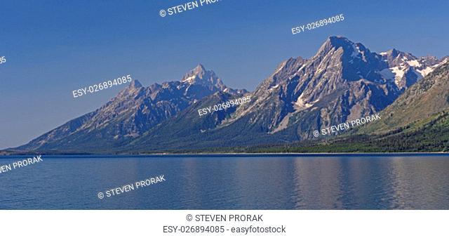 The Grand Tetons Seen Across Jackson Lake in Grand Teton National Park in Wyoming