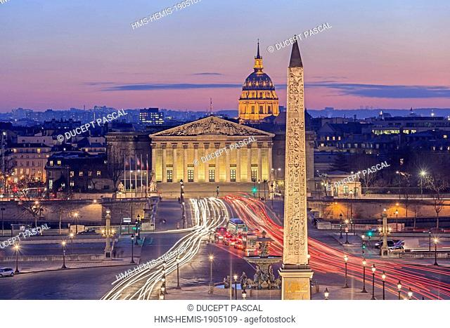 France, Paris, area listed as World Heritage by UNESCO, Place de la Concorde, the Obelisk, the French National Assembly (Palais Bourbon) and the Invalides dome...