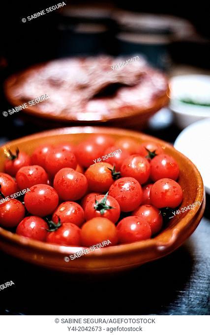 Cherry tomatoes. La Tupina. The greedy street. Bordeaux. Gironde. Aquitaine. France. Europe