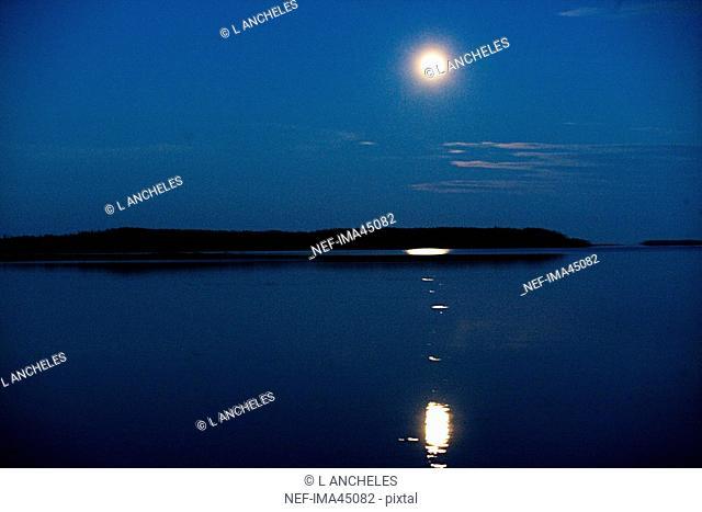 Moonlight over Water Lulea Sweden