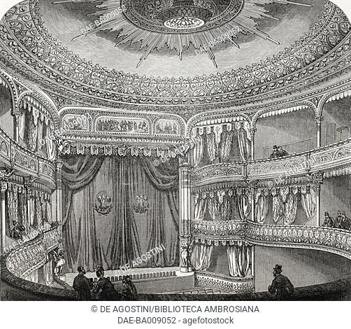 Interior of the Royal Court Theatre, Sloane Square, London, illustration from the magazine The Illustrated London News, volume LVIII, February 4, 1871