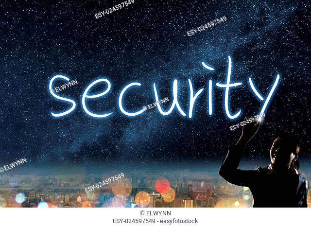 Concept of security, silhouette asian business woman light drawing