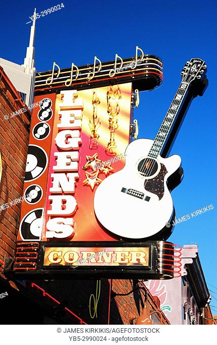Legends Corner is one of several live country music venues on Broadway in Nashville, Tennessee