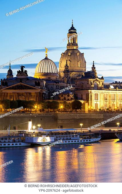 river Elbe with Frauenkirche and Dresden Academy of Fine Arts at night, Dresden, Saxony, Germany