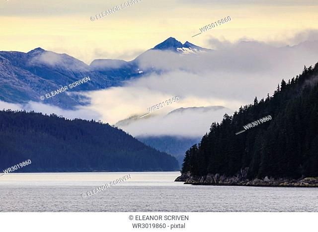 Mist over the Fairweather Range, Icy Strait, between Chichagof Island and Glacier Bay National Park, UNESCO World Heritage Site, Inside Passage, Alaska