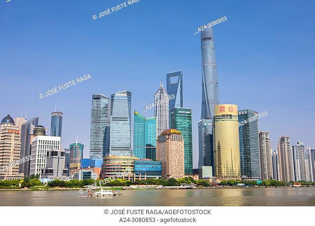 China, Shanghai City, Pudong District, Lujiazui Area,Huangpu river, Jin Mao Bldg. ,World Financial Center and Shanghai Tower. Skyline
