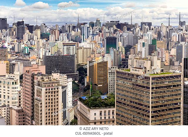 Elevated view of city skyscrapers, Sao Paulo, Brazil