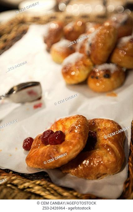 Raisin cookies served for breakfast in a tray, Taksim, Marmara Region, Istanbul, Turkey, Europe