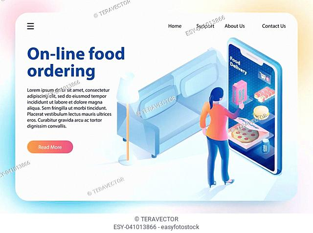 Isometric Food Ordering. Online Ordering and Fast Food Delivery Food Order Application Woman looks Menu on Website. Vector Isometric Illustration for Online...