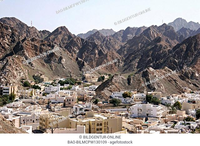Oman look at the Old Town of Muscat, Old quarters Muscat sultanates of Oman Middle East