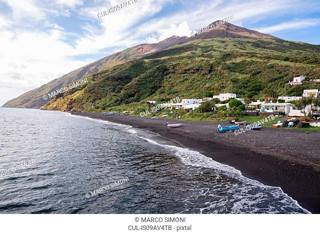 Coast and black sand of beach Stromboli, Aeolian Islands, Sicily, Italy