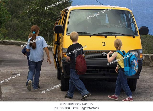 Saba, children picked up by the schoolbus