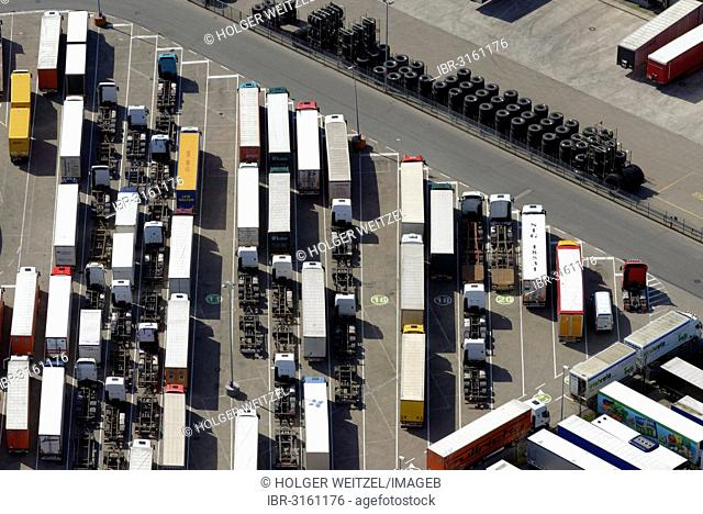 Aerial view, truck parking during the sunday driving ban