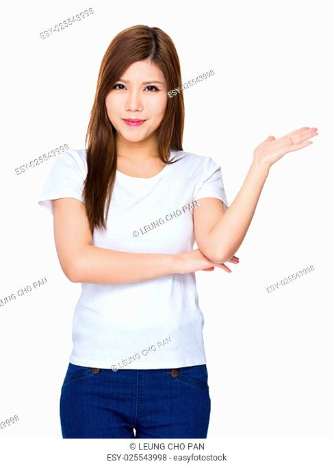 Woman with hand show with blank sign