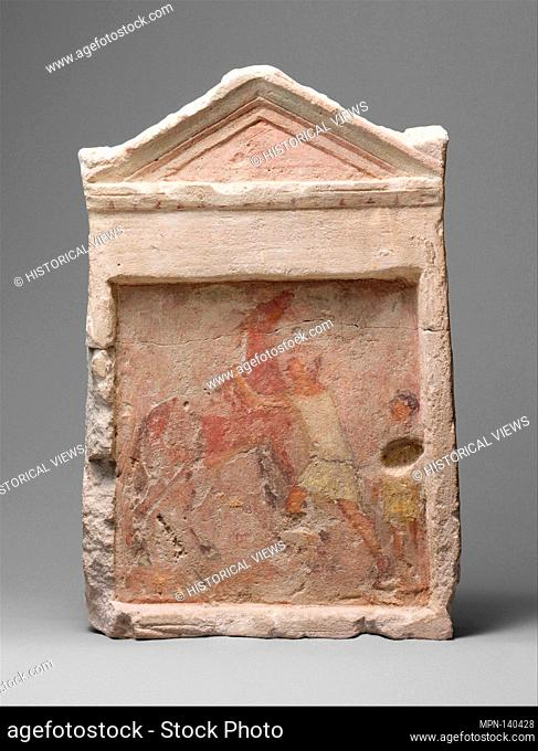 Painted limestone funerary slab with a man controlling a rearing horse. Period: Hellenistic; Date: 2nd half of 3rd century B
