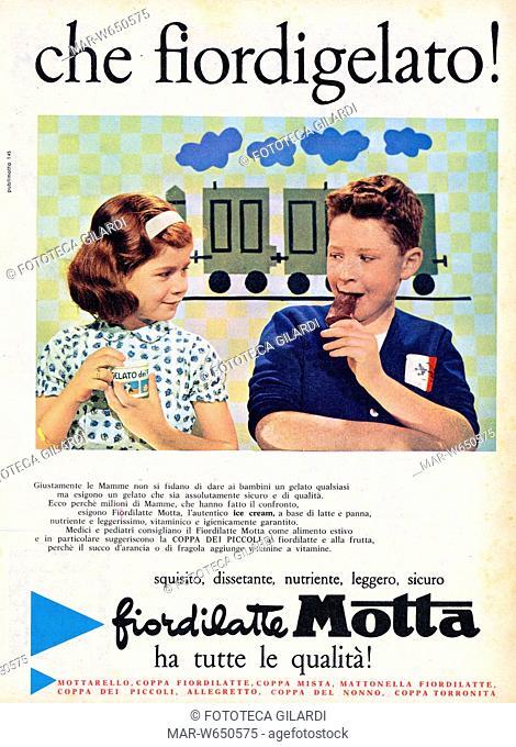 PUBBLICITÀ Che fior di gelato! Pubblicità dei Gelati Motta, che punta sulle qualità igienico-nutrizionali del prodotto destinato in particolar modo ai bambini