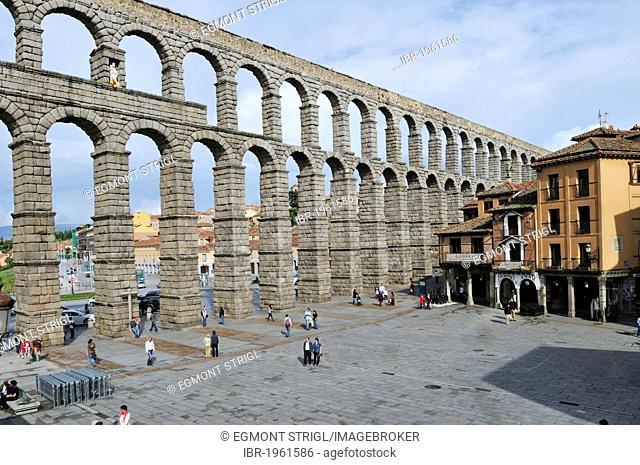 Roman aqueduct, Segovia, Unesco World Heritage Site, Castile and Leon oder Castilia y Leon, Spain, Europe