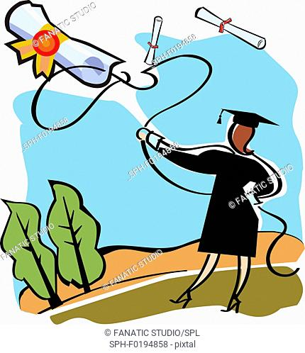 Graduate catching a diploma with a lasso, illustration