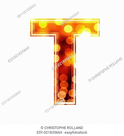 3d letter with glowing lights texture - T
