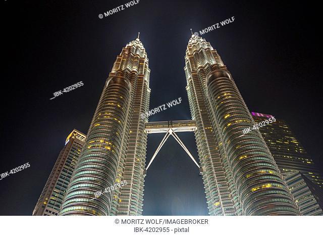 Illuminated Petronas Tower at night, Kuala Lumpur, Malaysia