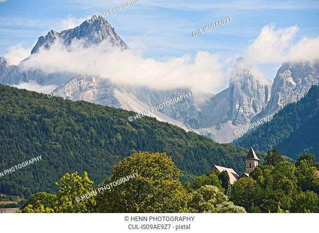View of Clelles and Mount Aiguille, Provence, France