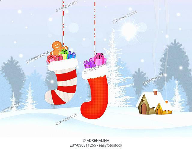 illustration of Christmas socks