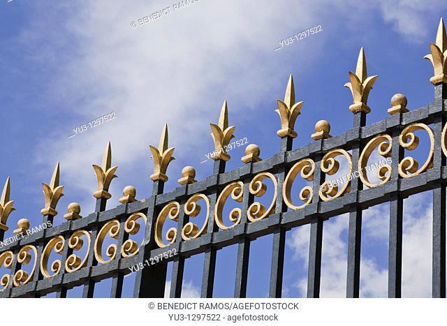 Detail of ornate wrought-iron gates, Jardins de Luxembourg, Paris, France