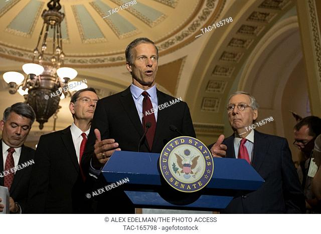 Senate Republican Conference Chairman John Thune (R-TX) speaks about republican efforts to replace Obama Care during a press conference on Capitol Hill on May...