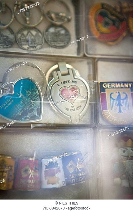 Key fobs one of with the writing I left my Heart in Germany are seen in a souvenir shop in Frankfurt at the main - Frankfurt, Hesse, Germany, 18/07/2013