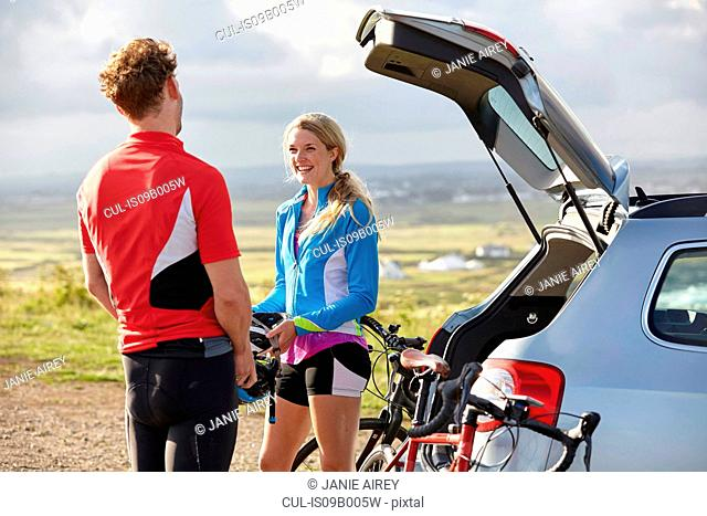 Cyclists chatting before ride