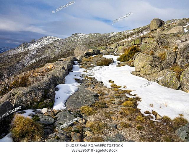 Road to Arenal pass in the Sierra de Gredos. Avila. Castilla Leon. Spain. Europe