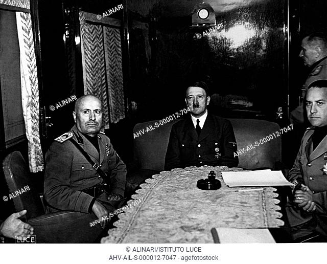 The meeting of the Duce Benito Mussolini with the Führer Adolf Hitler to the presence of Foreign Ministers of Count Ciano and Ribbentrop