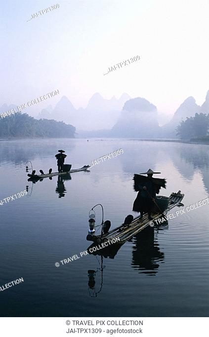 Li River / Cormorant Fishermen / Dawn, Guilin / Yangshou, Guangxi Province, China