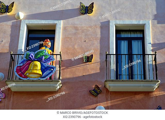 Decorations in the streets of Figueres, Spain