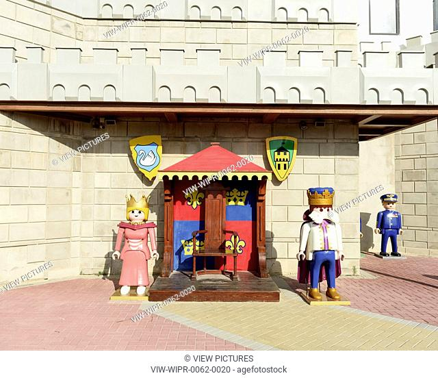 Figures outside the factory. Playmobil Factory, Valetta, Malta. Architect: -, 1976