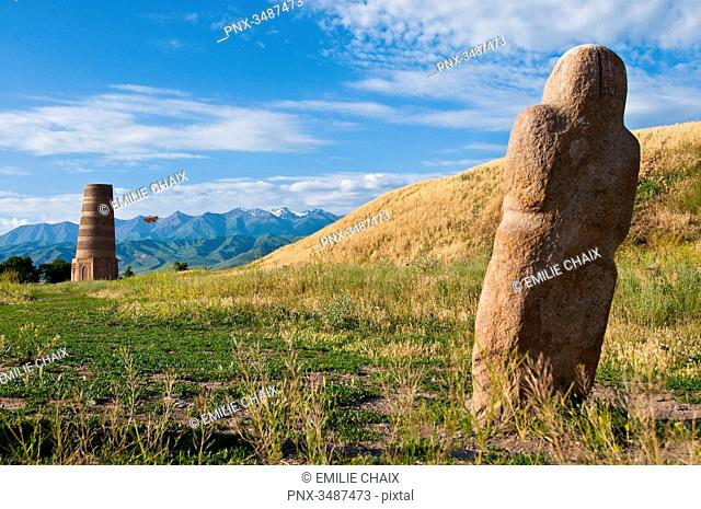 Central Asia, Kyrgyzstan, Chuy province, Burana Tower (11th), archeological site, minaret, remains of the ancient city of Balasagyn