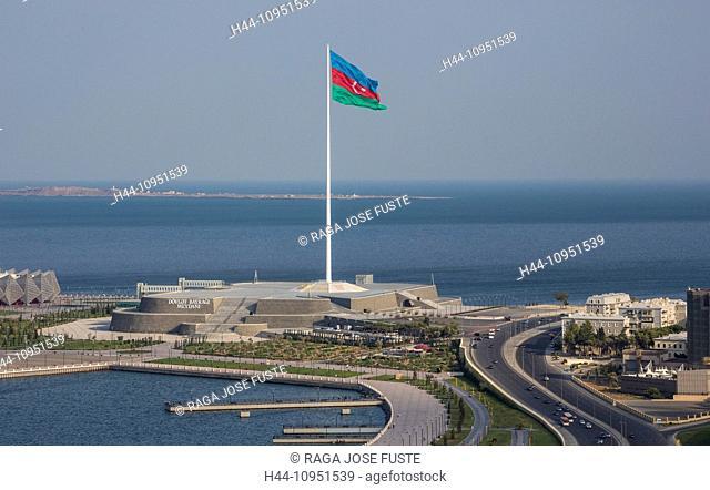 Azerbaijan, Caucasus, Eurasia, Baku, City, architecture, big, Caspian, flag, monument, sea, tall