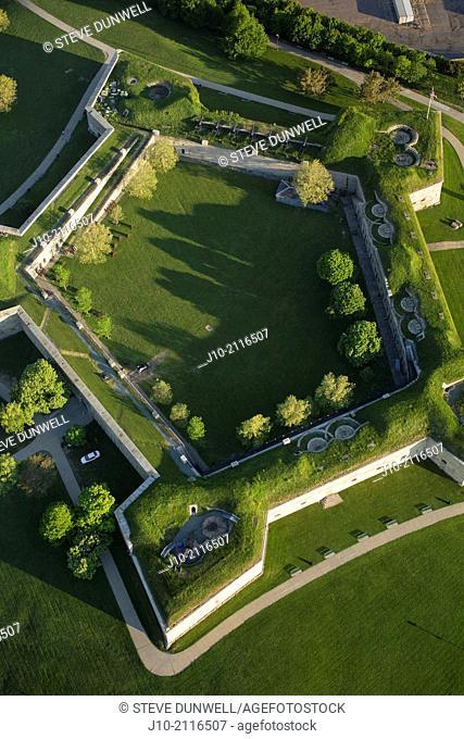 Castle Island, Fort Independence, aerial, Boston, Massachusetts, USA