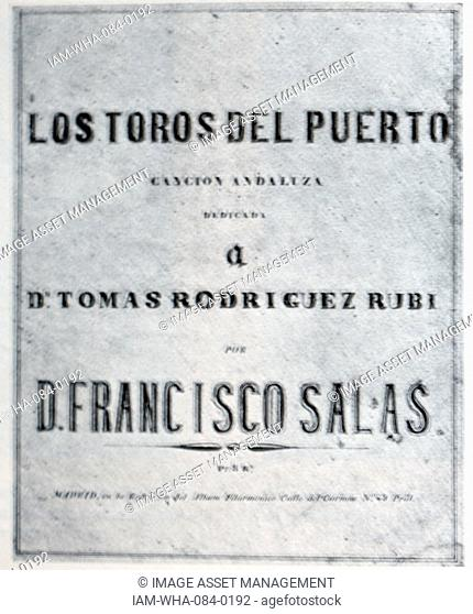 Cover of a hugely popular Spanish song from the mid-nineteenth century. Date 19th Century
