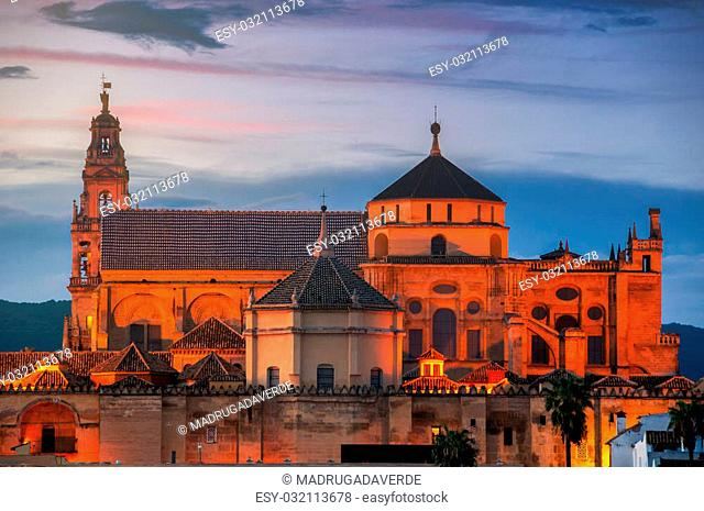 La Mesquita Cathedral at sunset in Cordoba, Andalusia, Spain