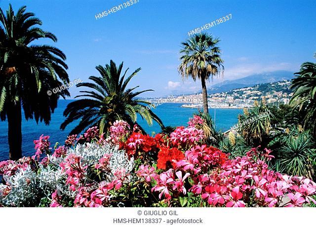 France, Alpes Maritimes, Menton, View from the garden Maria Serana
