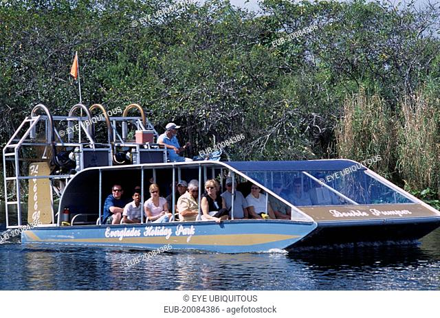 Tourists Air boating in the Everglades National Park