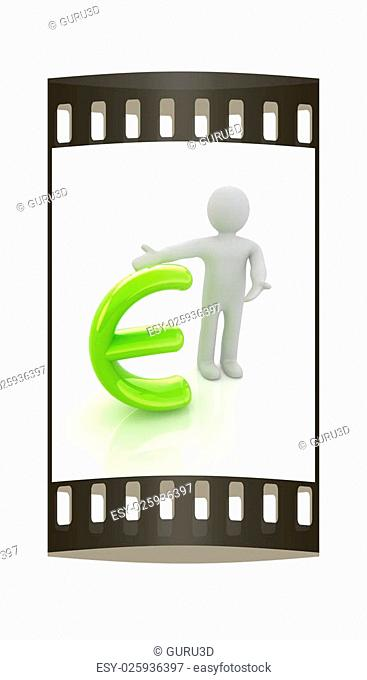3d people - man, person presenting - euro sign. The film strip